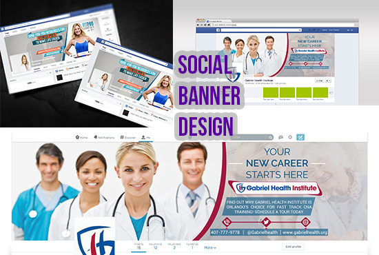 Design awesome social media banner, cover, header