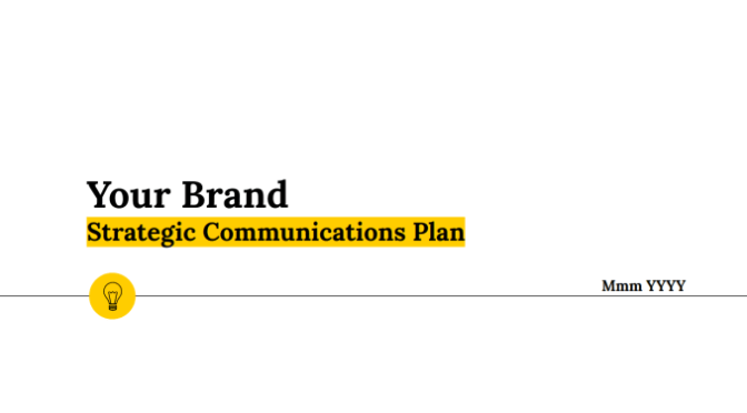Write your PR or marketing communication plan
