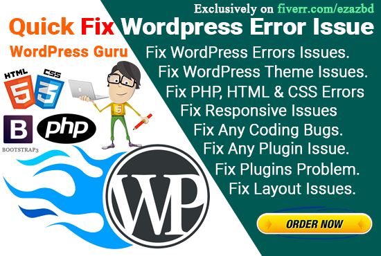 Fix WordPress Website Issues WordPress Errors Or Problem In 24 Hrs, FiverrBox