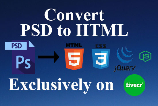 Convert psd to html use bootstrap4 and jquery and javascript