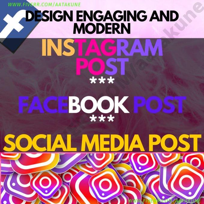 Design modern instagram post, Facebook post Social Media Post, FiverrBox
