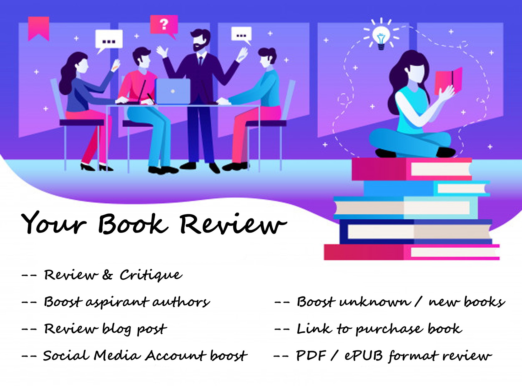 Read and review your book and compose an unbiased critique, FiverrBox