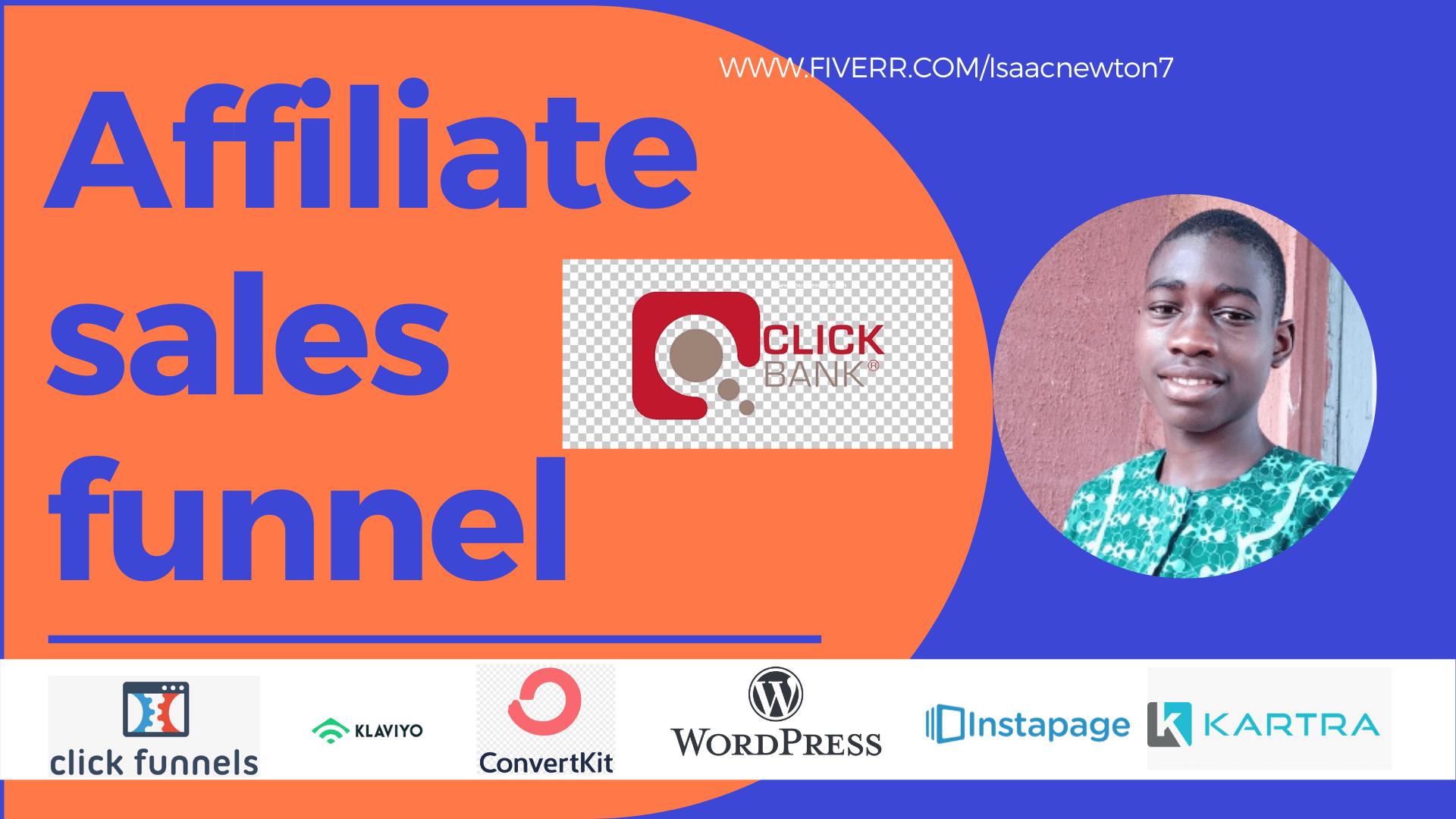 Build clickfunnels clickbank affliate sales funnel, affiliate marketing, FiverrBox