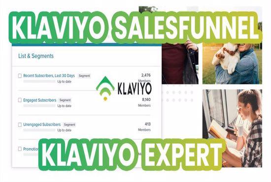 Set up powerful klaviyo email marketing flows, klaviyo sales funnel automation, FiverrBox