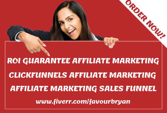 Build a roi guarantee clickfunnels affiliate marketing sales funnel landing page, FiverrBox