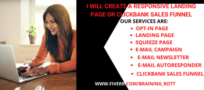 I will create a responsive landing page design or clickbank sales funnel, FiverrBox
