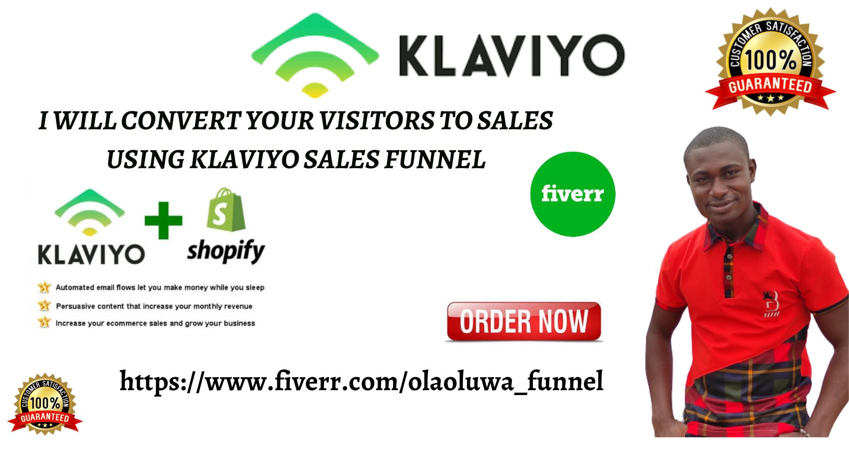 I will set up klaviyo sales funnel,klaviyo marketing,shopify sales funnel in klaviyo olaoluwa_funnel olaoluwa_funnel, FiverrBox