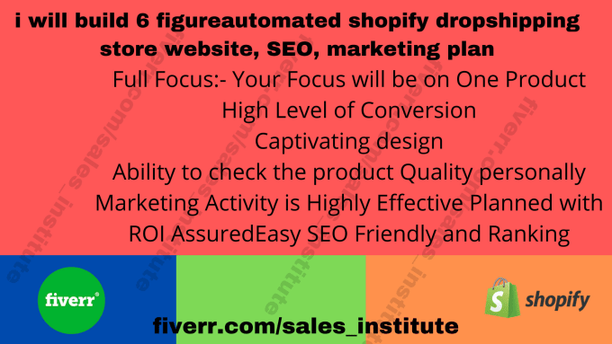 I will build 6 figure automated shopify dropshipping store website, SEO, marketing plan, FiverrBox