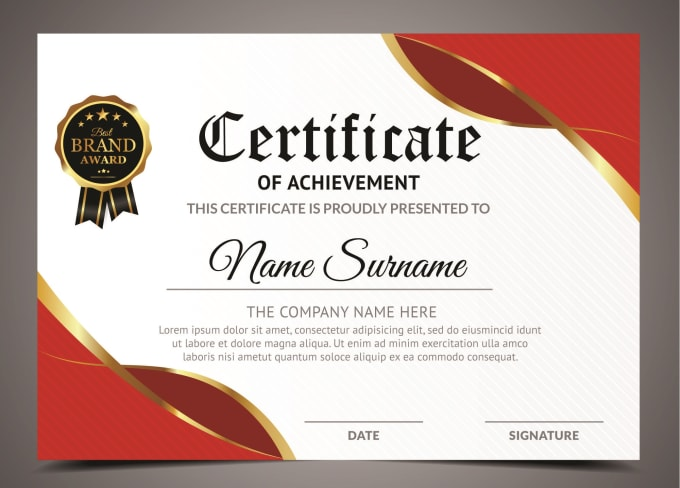 I will design professional certificate, diploma, award certificate in 24 hours, FiverrBox