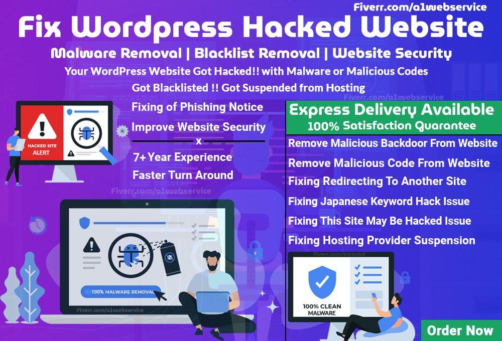 I will fix wordpress hacked website,remove malware, FiverrBox