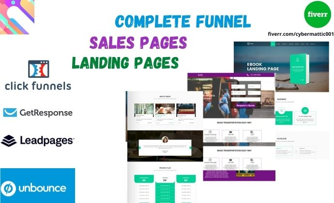 I will create leadpages unbounce clickfunnel landing page funnel, FiverrBox