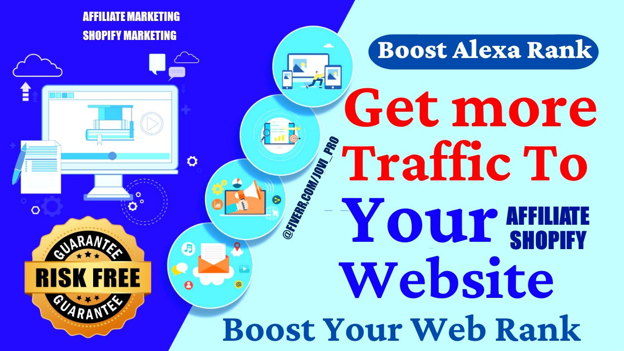 I will Do Affiliate Link Promotion clickbank. Shopify, Teespring marketing web traffic, FiverrBox