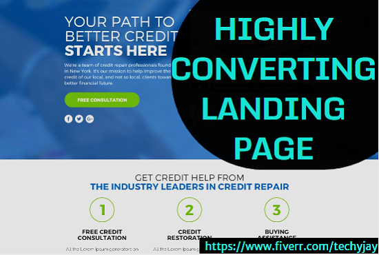 I will create a credit repair website, credit score, landing page, FiverrBox