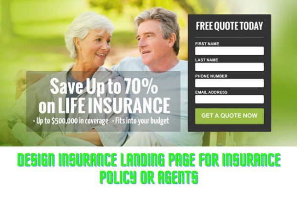 I will design insurance landing page for insurance policy or agents, FiverrBox