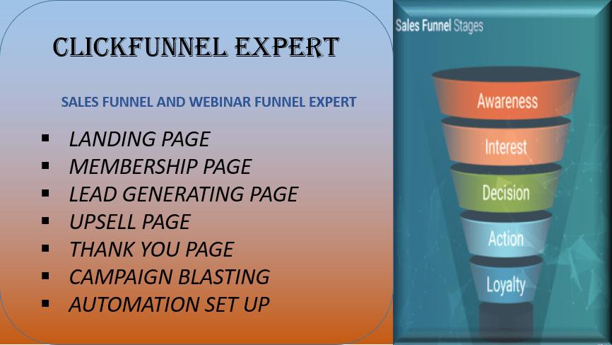 I will do sales funnels using clickfunels, webinar funnel membership funnel, FiverrBox