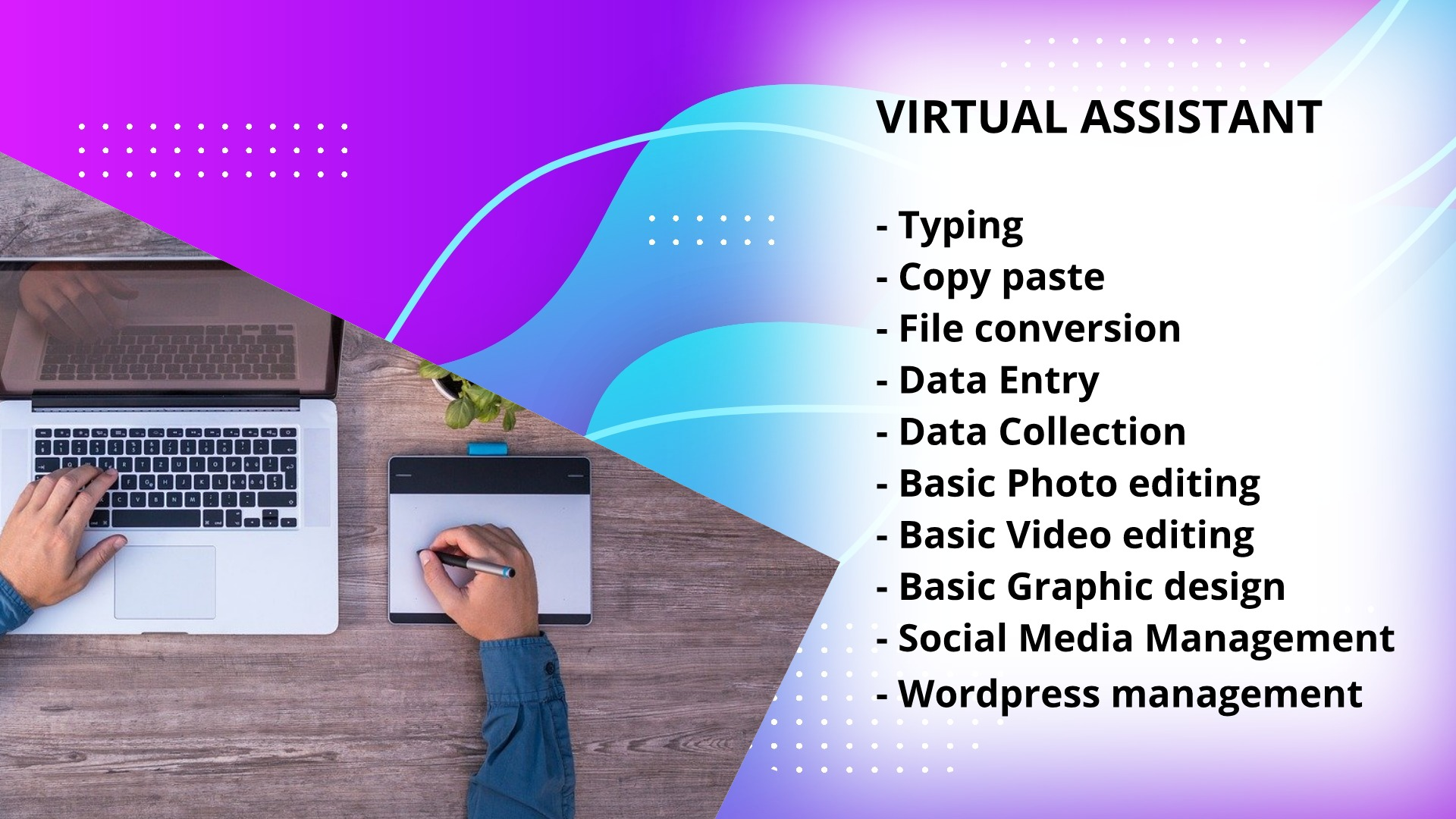 I will do data entry, wordpress, editing, virtual assistant etc, FiverrBox