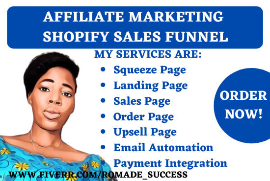 I will setup clickbank affiliate marketing sales funnel or landing page, FiverrBox