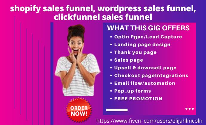 I will shopify sales funnel, wordpress sales funnel, clickfunnel sales funnel, FiverrBox