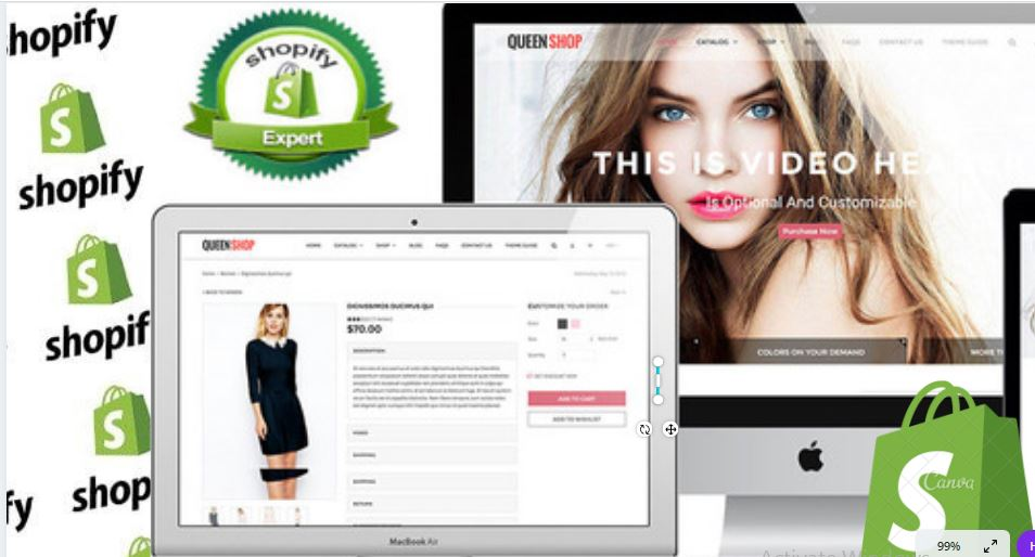 I will create responsive shopify website design shopify store design ,shopify store, FiverrBox