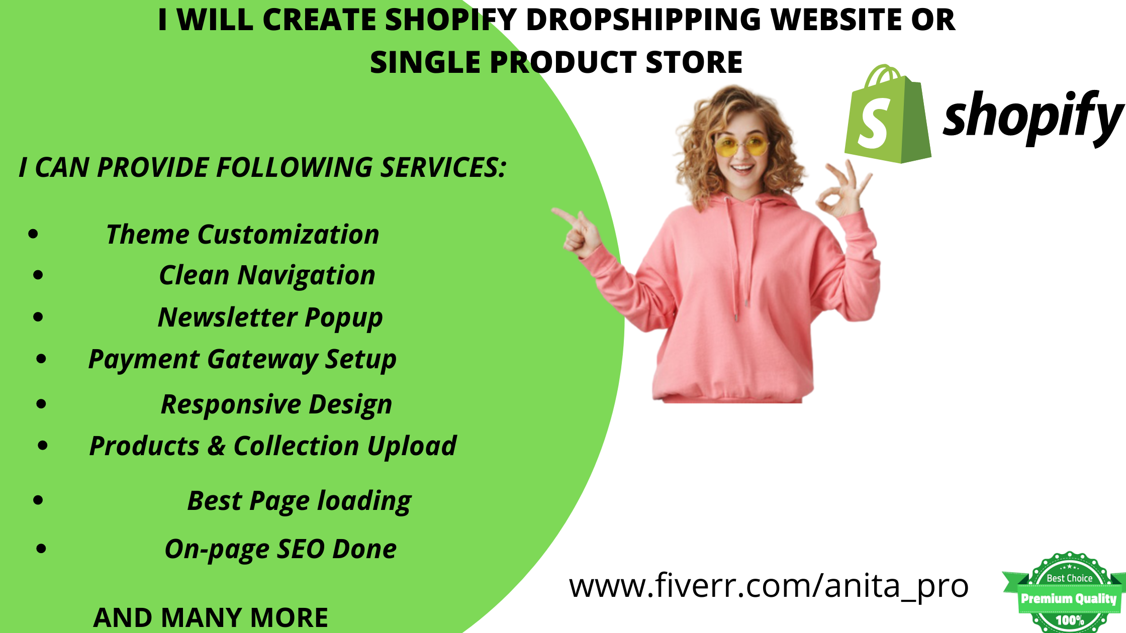 I will create shopify dropshipping website or single product store, FiverrBox