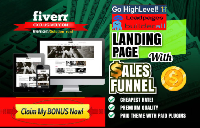 I will build stunning landing page, funnels on leadpages, gohighlevel, builderall, FiverrBox