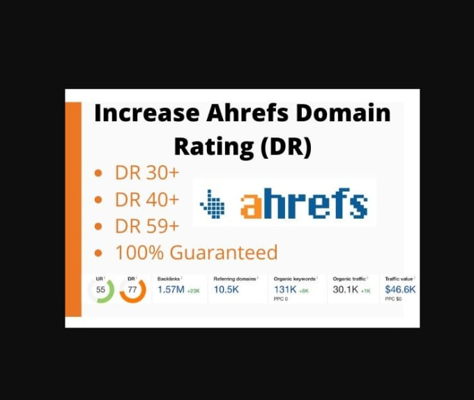 I will do domain rating ahrefs to dr 50 plus, FiverrBox