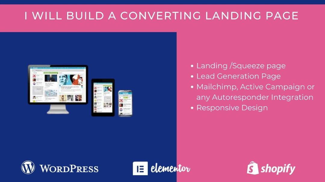 landing page, squeeze page, website landing page design, FiverrBox