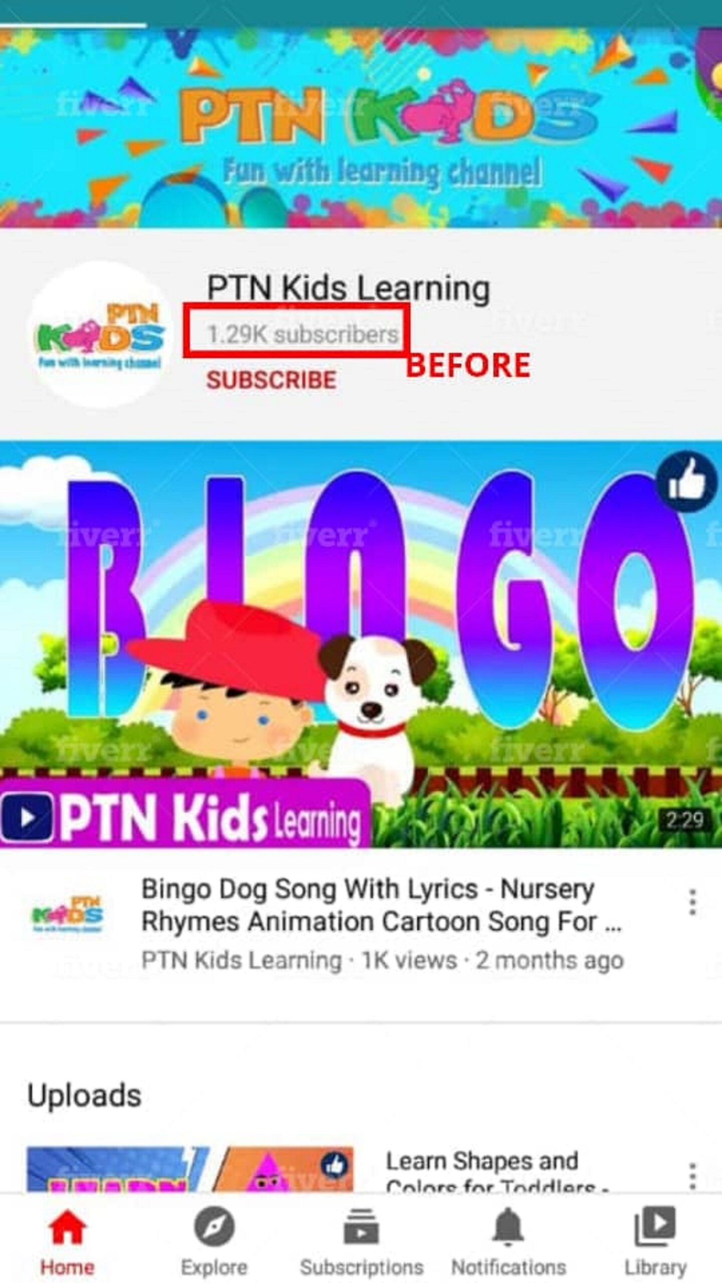 organically promote kids youtube video, advertise kids channel, FiverrBox