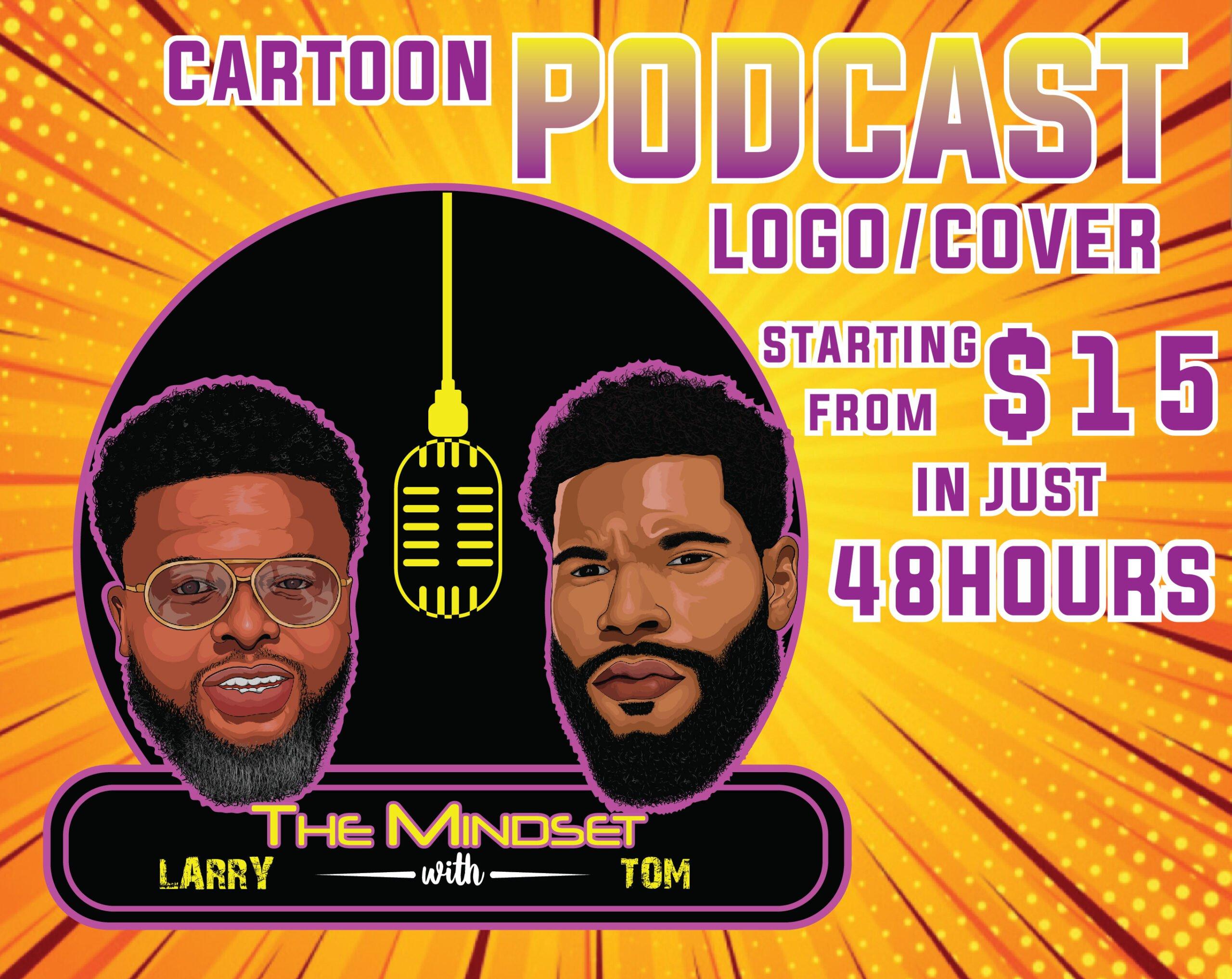 I will design cartoon podcast logo, FiverrBox