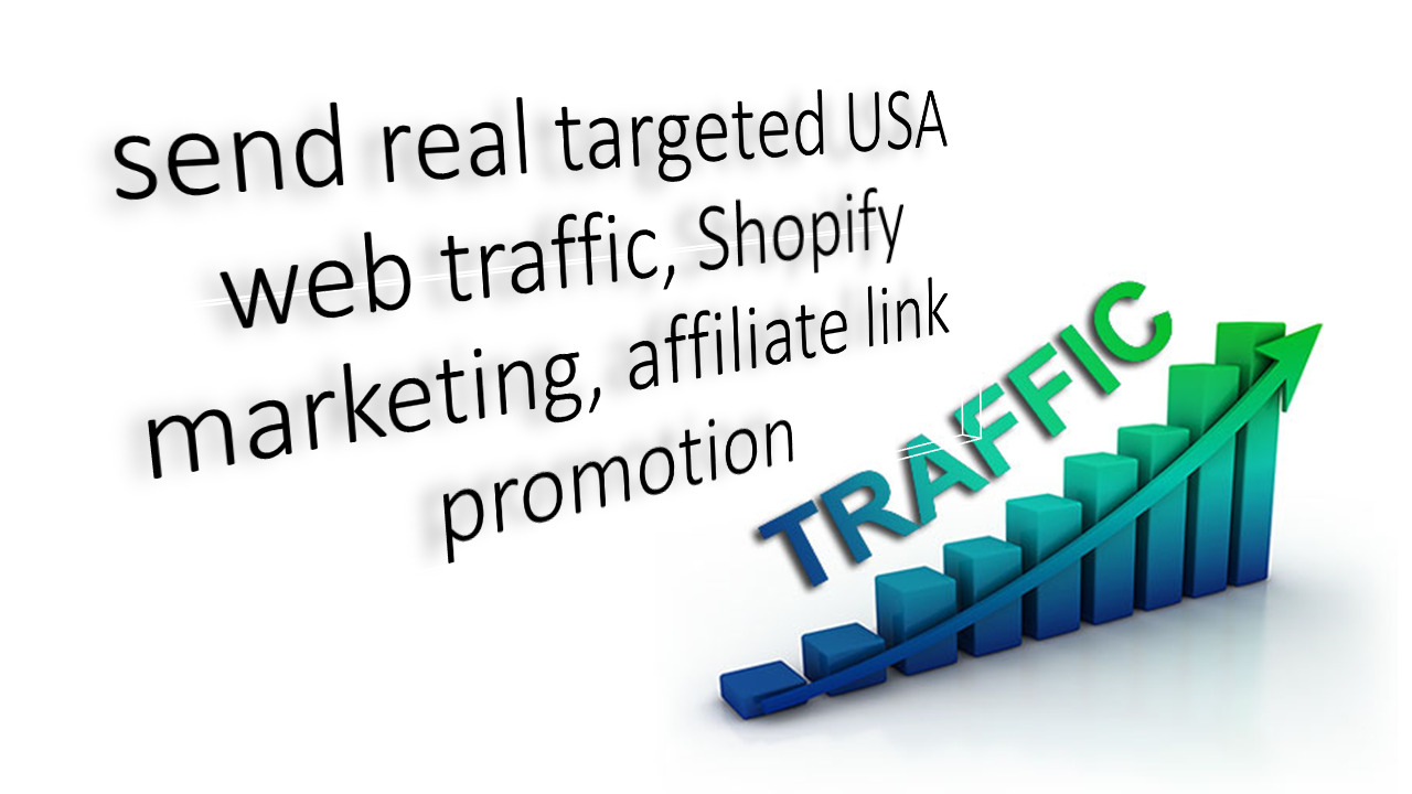 I will send targeted usa web traffic shopify marketing, affiliate link promotion, FiverrBox