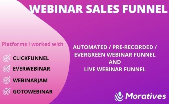 I will setup webinar funnel using clickfunnels, everwebinar, webinarjam, FiverrBox