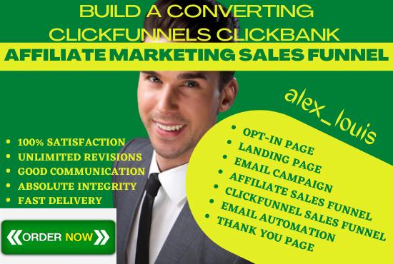I will build a converting clickfunnels clickbank affiliate marketing sales funnel, FiverrBox