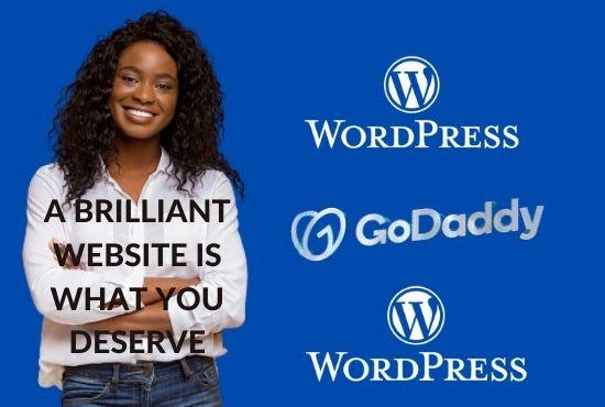 I will create modern and attractive website on godaddy, wordpress, FiverrBox