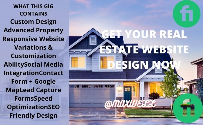 I will I will create real estate website, real estate landing page,real estate logo, FiverrBox