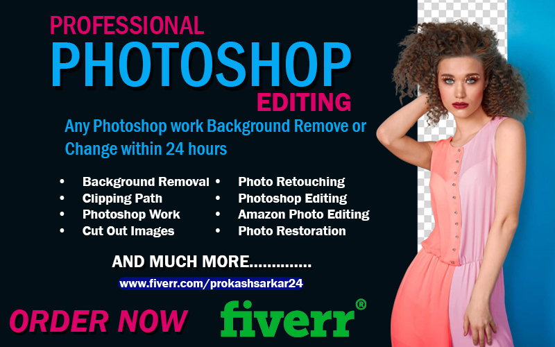 I will do any photoshop work background remove or change within 24 hours, FiverrBox