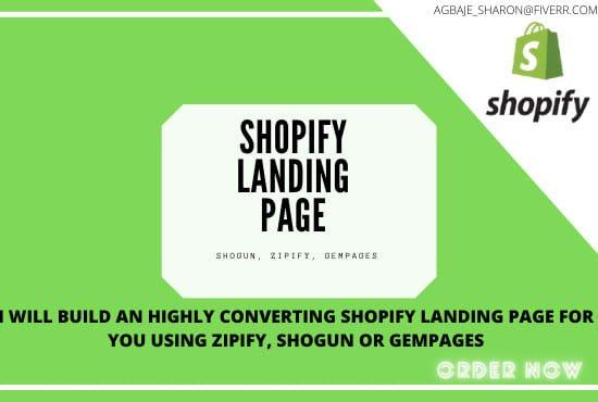 I will design shopify landing pages, via shogun, forum, gempages, FiverrBox