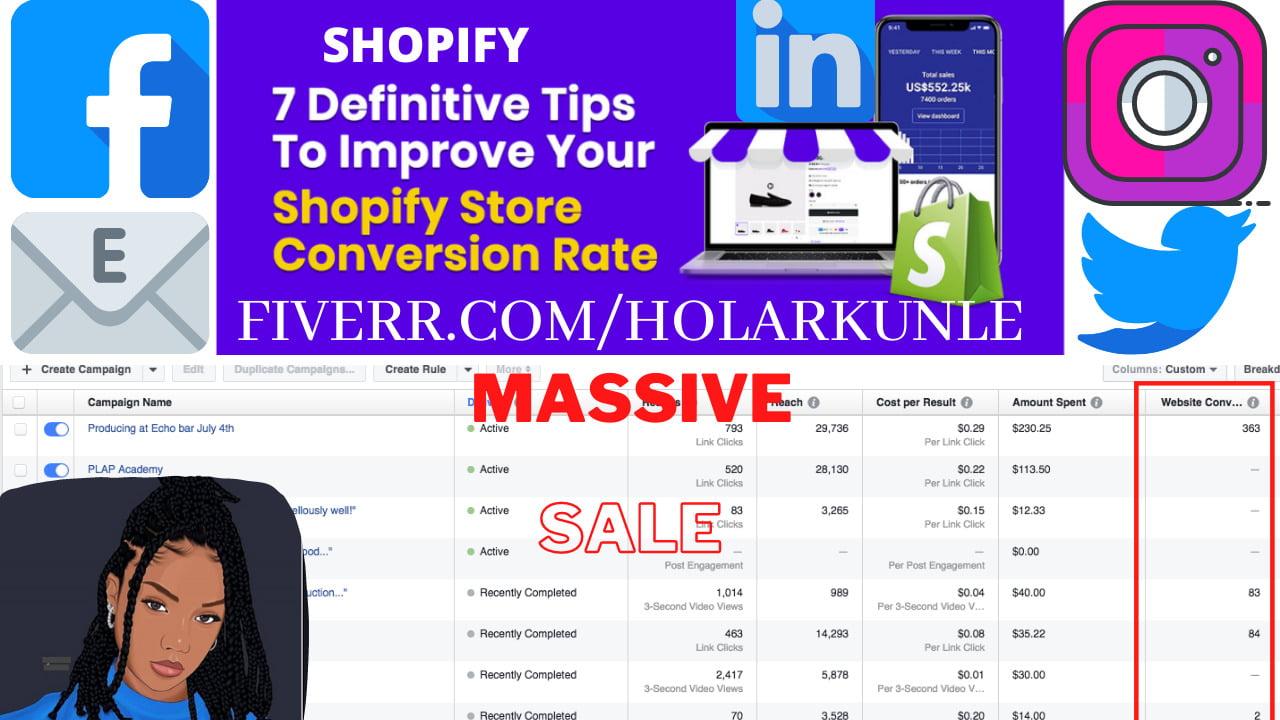 I will run facebook ads shopify marketing ROI klaviyo sales funnel to boost USA traffic, FiverrBox