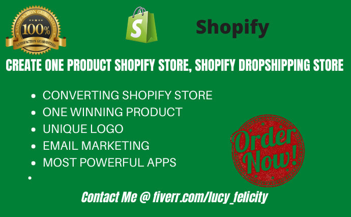 I will create one product shopify store, shopify dropshipping store, FiverrBox