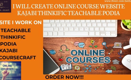 I will do wordpress membervault online coursewebsite kajabi thinkific teachable website, FiverrBox