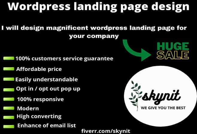 I will design modern landing page, wordpress landing page, FiverrBox
