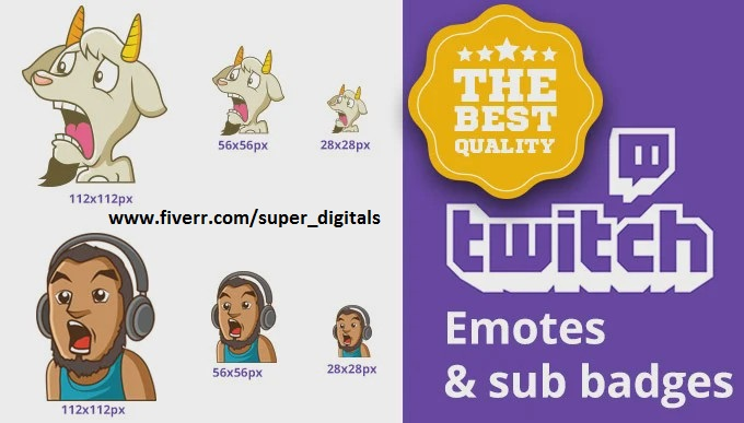 I will design custom twitch emote, logo, banner, sub badge to engage your target people, FiverrBox