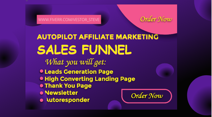 I will set up affiliate marketing sales funnel or landing page for, FiverrBox