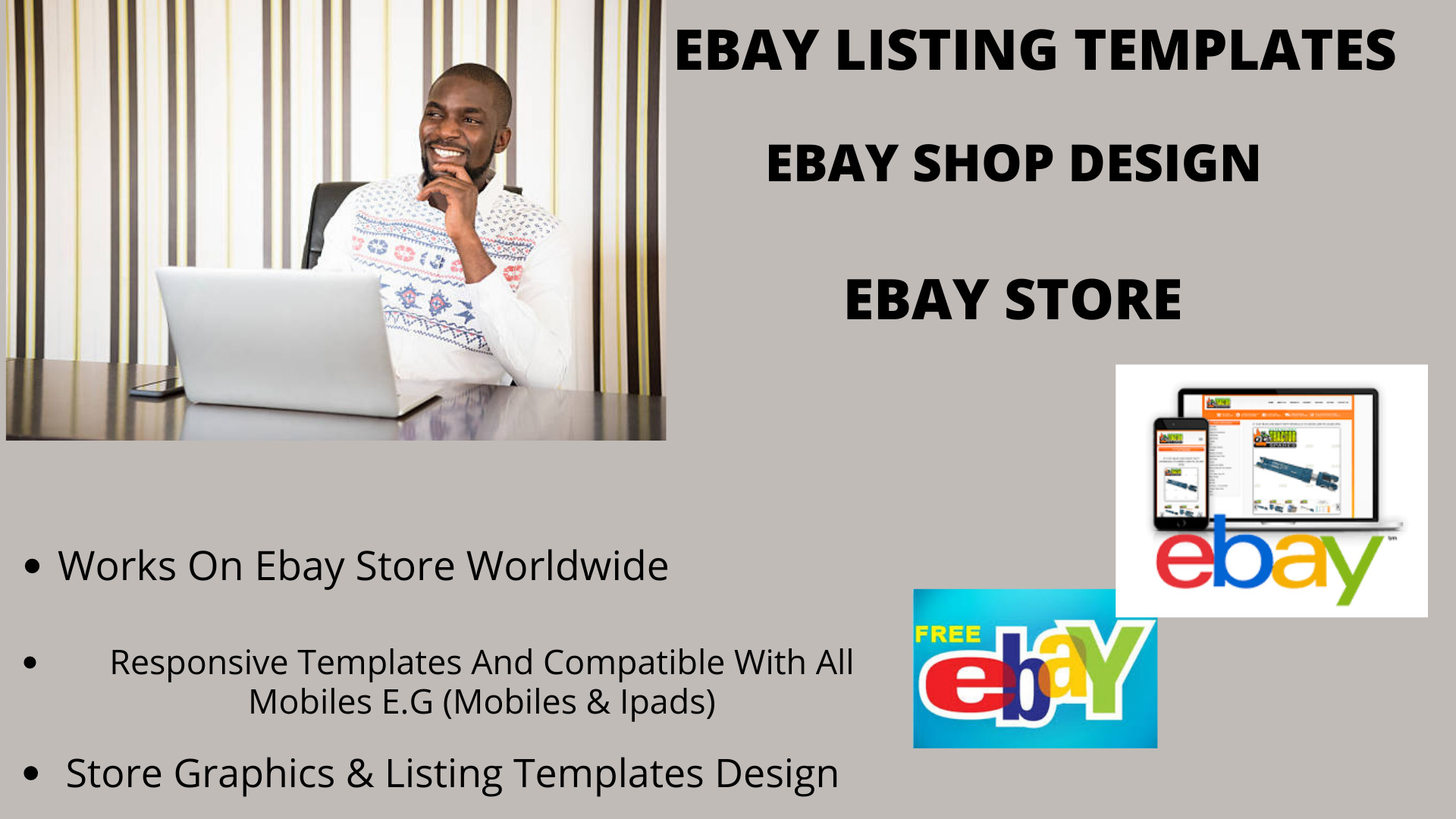 I will design ebay store, listing template, ebay shop design, FiverrBox