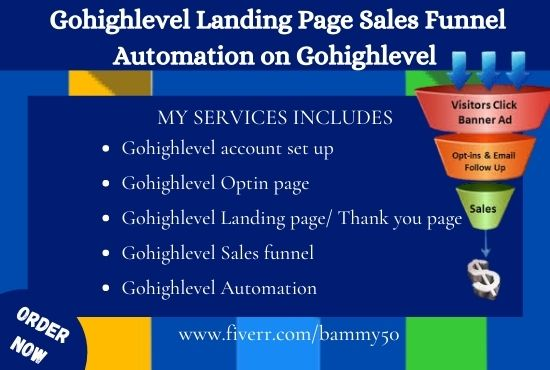 I will design gohighlevel landing page sales funnel automation on gohighlevel, FiverrBox