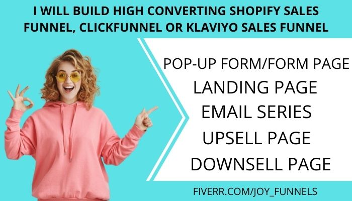 I will build high converting shopify sales funnel, klaviyo and clickfunnel sales, FiverrBox