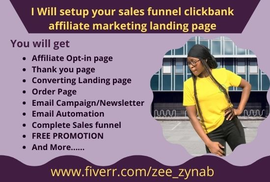 I will setup your sales funnel clickbank affiliate marketing landing page, FiverrBox