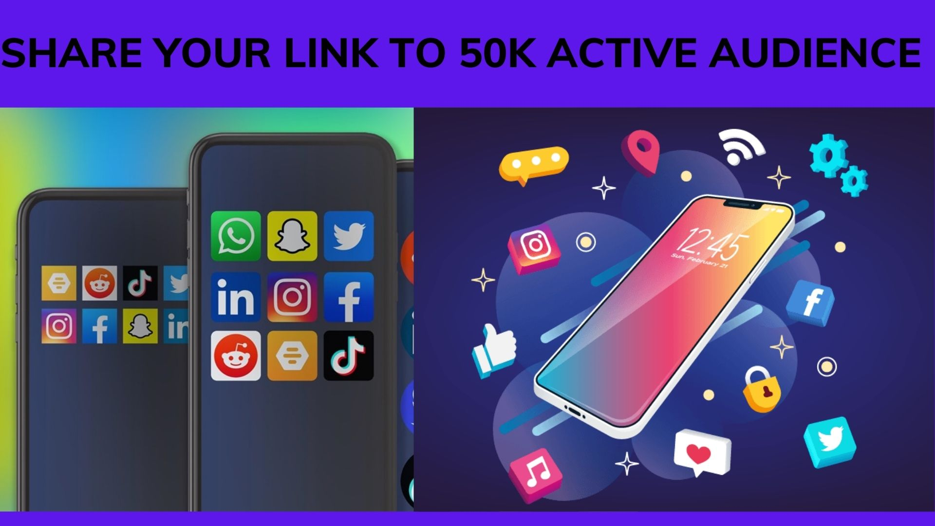 I will share your link, affiliate referral link to 500k social media, FiverrBox