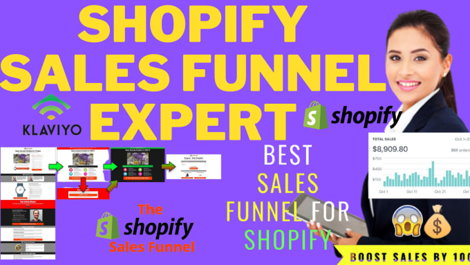 I will shopify sales funnel using privy,klaviyo and build high converting landing page, FiverrBox
