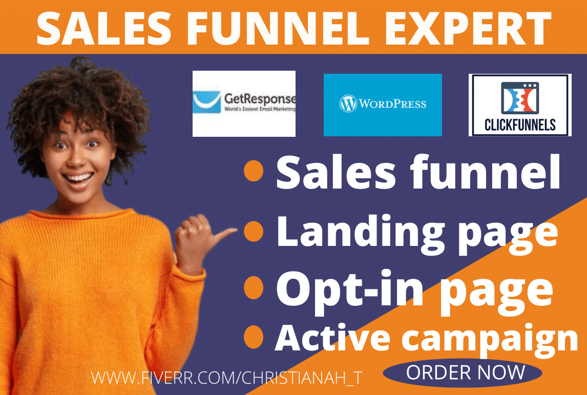I will create clickbank affiliate marketing sales funnel or landing page, FiverrBox