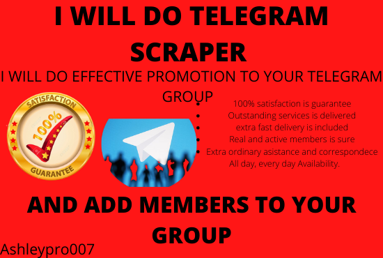 I will do telegram promotion to get organic members, FiverrBox